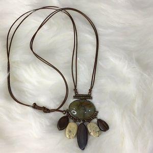 Jewelry - Boho Stone Wood and Leather Amulet